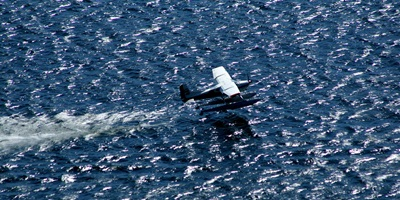 a floatplane taking off