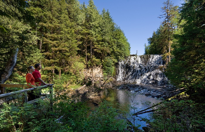 Stroll through 52 acres of Alaskan wilderness including our own namesake waterfall!